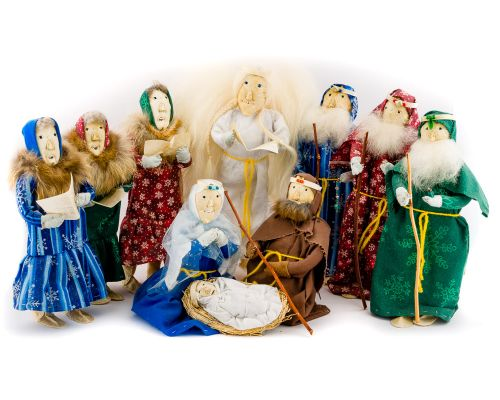 Handmade Nativity Set With Ten Native Eskimo Dolls