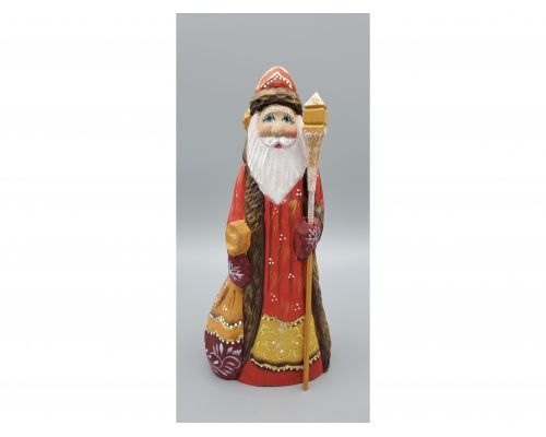 Russian Hand Carved Father Frost With  Red/Gold Coat