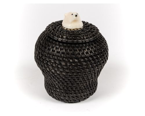 Baleen Basket With Polar Bear Finial