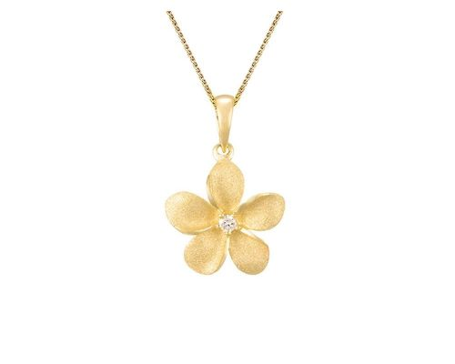 Denny Wong Forget-Me-Not Plumeria Flower Pendant With Center Diamond In 14 Karat Yellow Gold