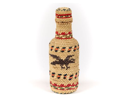 Handwoven Aleut Bottle With Whale & Eagle Design