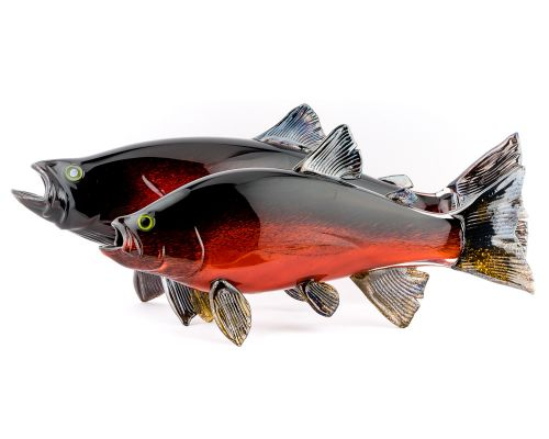 Hand Blown Glass Coho Silver Salmon