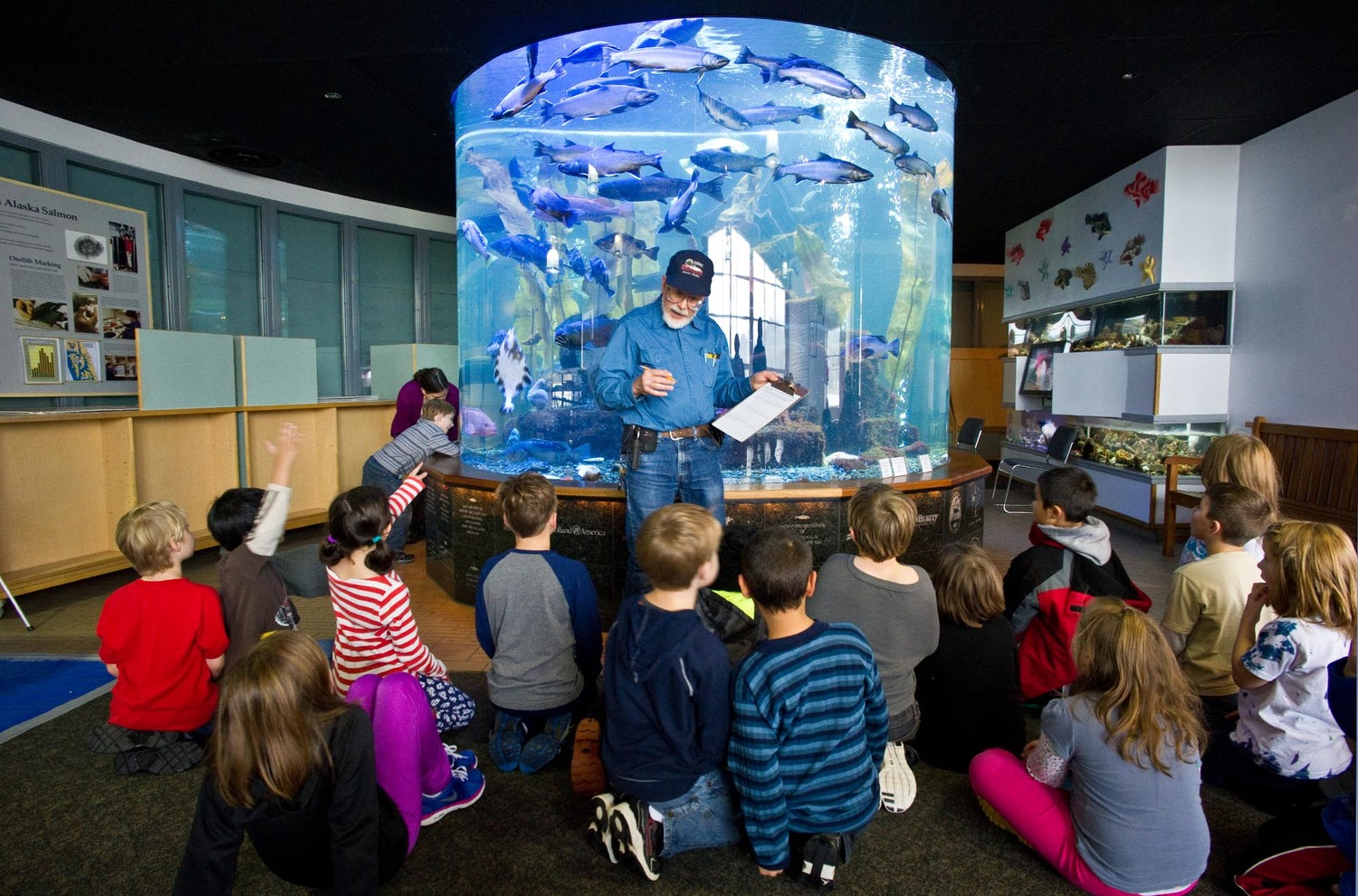 Second graders learning about salmon at DIPAC in Juneau