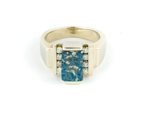 Star Of Alaska Ring With Rectangular Covellite Inlay & 8 Side Diamonds