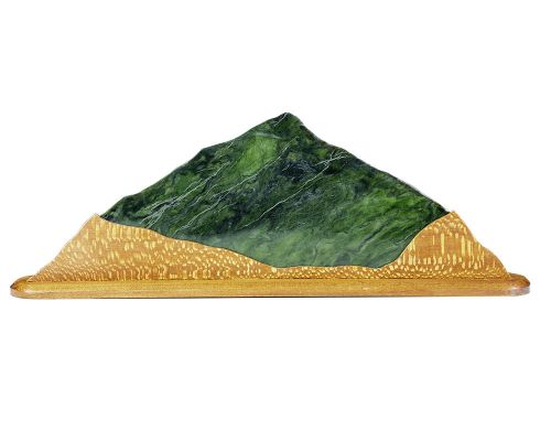 Jade Mountain River Of Gold Sculpture With Snake Wood Base