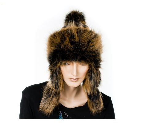 Fur Hat With Knit Ear Flaps