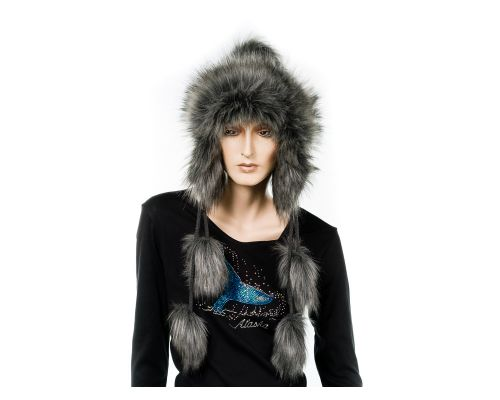 Fur Hat With Knit Ear Flaps & Front Pom Pom