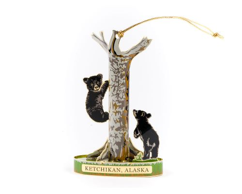 Ketchikan Solid Brass Bear Cubs Climbing Tree Ornament