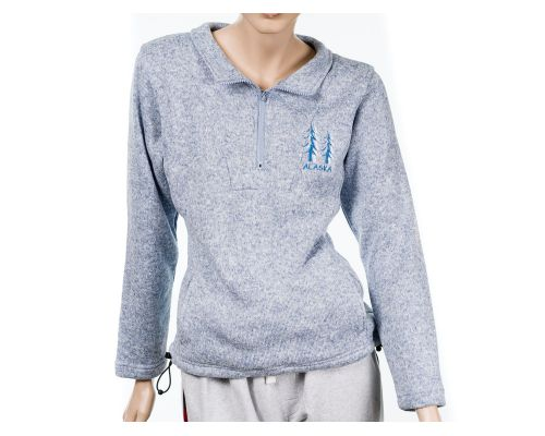 Ladies Alaska Quarter Zip North Shore Fleece Blue Yarn Pullover Sweater With Tree Design