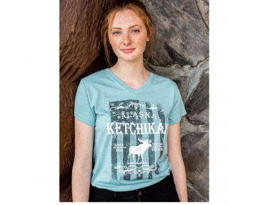 Short Sleeve V-Neck Ladies Ketchikan, Alaska Moose Freedom T-Shirt