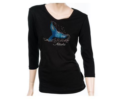 Women's ¾  Sleeve V-Neck Black Tee With Rhinestone Whale Tail