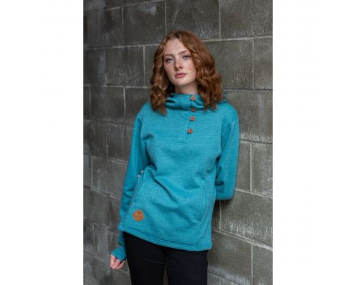 Ladies 4 Button Hoodie With Pockets & Alaska Patch