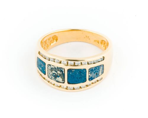 Star Of Alaska Covellite Four Panel Ladies Ring With Diamonds