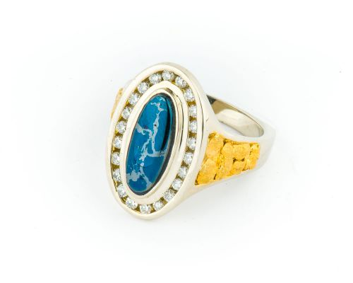 Star Of Alaska Covellite Ladies Oval Ring With Diamonds & Side Nuggets