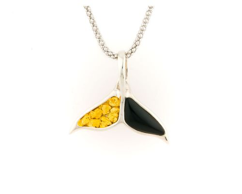 Alaska Black Petrified Wood Whale Tail Pendant With Partial Gold Nugget Inlay