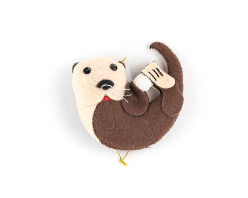Otter With Shell Felt Ornament