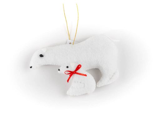 Polar Bear With Cub Felt Ornament