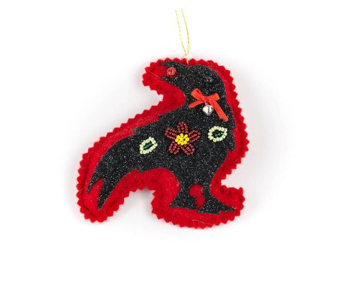 Raven Felt Beaded Ornament