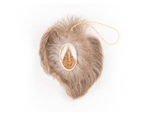 Smiling Eskimo Grandma With Fur Mask Ornament