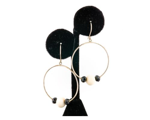 Ivory Jacks Fossilized Woolly Mammoth Ivory Faceted Hoop Earrings With Beads