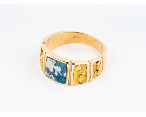 Star of Alaska Square Covellite Ladies Ring With Gold Nugget Side Panels