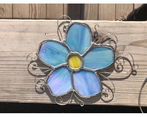 Handmade Forget-Me-Not Stained Glass Flower