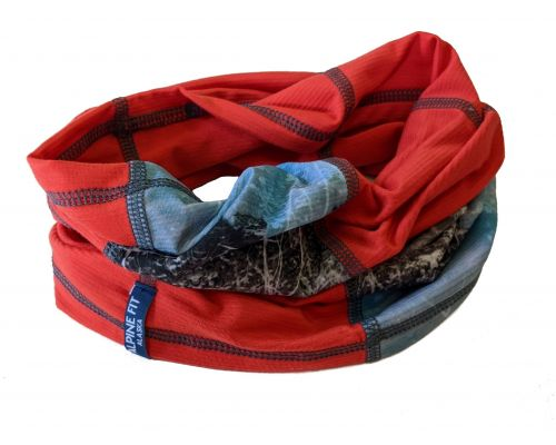 Geo Neck Gaiter Autumn Alder Red
