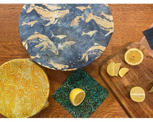"Humpback Whale Batik ""Blues"" Beeswax Wrap 3-Pack"