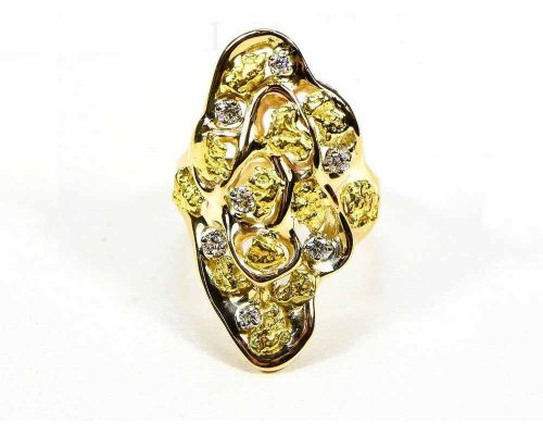 Orocal Free-form Gold Nugget and Diamond Ladies Ring