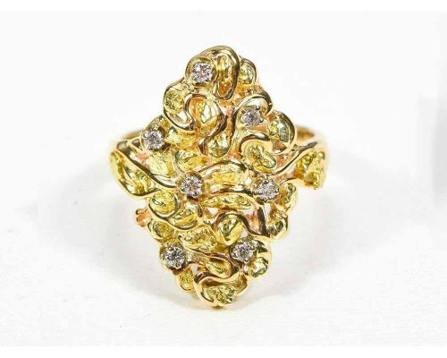 Orocal Diamond Shaped Gold Nugget Ladies Ring With Small Nuggets & Diamonds