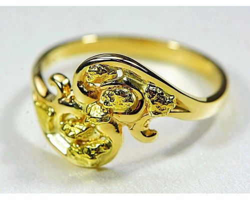 Orocal Wave Style Gold Nugget Ladies Ring