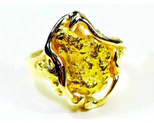 Orocal Large Gold Nugget Women's Ring With Side Nuggets