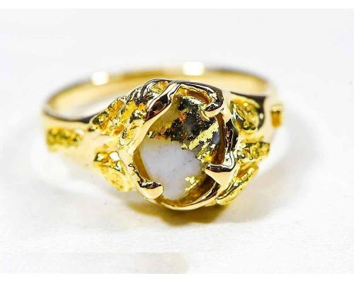 Orocal Natural Shaped Gold Quartz Ladies Ring With Side Nuggets