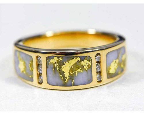 Orocal 3 Piece Gold Quartz Ladies Ring With 6 Diamonds