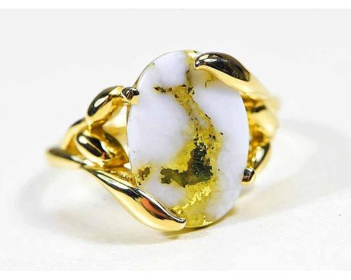Orocal Oval Gold Quartz Ladies Ring With Side Leaf Design