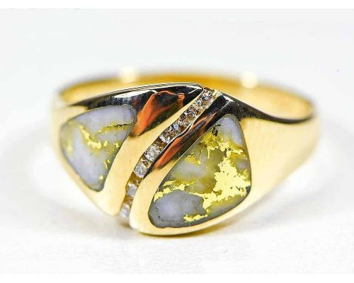 Orocal Gold Quartz With Curved Diamond Channel Ladies Ring