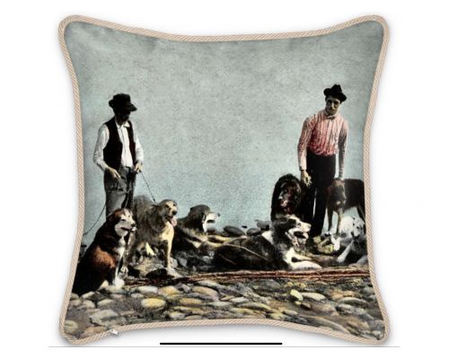 Alaska Huskies and Pioneer Mushers Silk Pillow