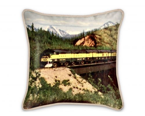 Alaska Railroad Classic Train Silk Pillow