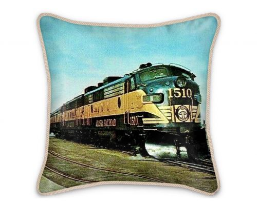 Alaska Railroad Streamliner Aurora Silk Pillow