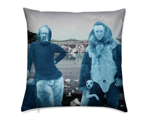 Arctic Explorers Admiral Richard Byrd and Randolf Franke at Alaska's Muir Glacier Luxury  Pillow