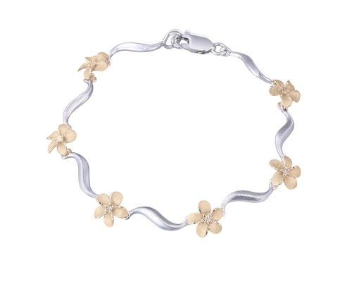 Denny Wong Forget-Me-Not Plumeria Flower Lei Wave Bracelet In 14 Karat White & Yellow Gold With Center Diamonds