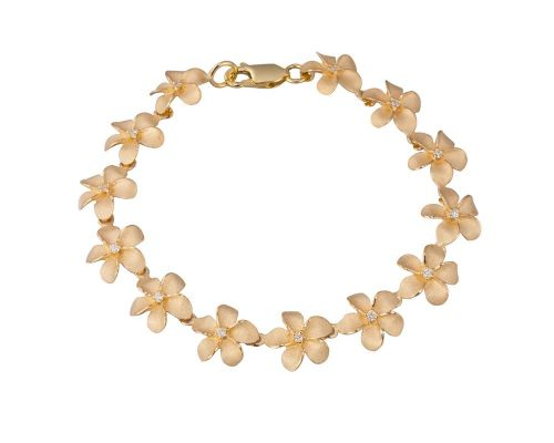 Denny Wong Forget-Me-Not Plumeria Flower Lei Bracelet In 14 Karat Yellow Gold With Center Diamonds