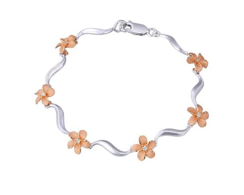 Denny Wong Forget-Me-Not Plumeria Flower Lei Wave Bracelet In 14 Karat White & Rose Gold With Center Diamonds