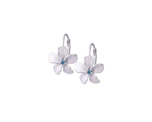 Denny Wong Forget-Me-Not Plumeria Flower Leverback Earrings With Center Blue Diamonds In 14 Karat White Gold