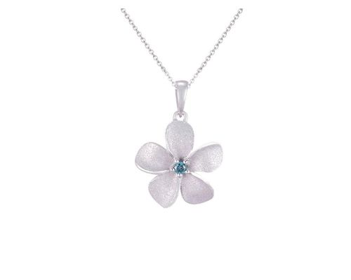 Denny Wong Forget-Me-Not Plumeria Flower Pendant With Center Blue Diamond In 14 Karat White Gold