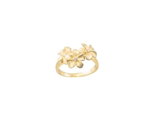 Denny Wong Triple Forget-Me-Not Plumeria Flower Ladies Ring With Center Diamonds In 14 Karat Yellow Gold