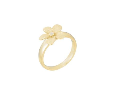 Denny Wong Blooming Forget-Me-Not Plumeria Flower Ladies Ring With Center Diamond In 14 Karat Yellow Gold