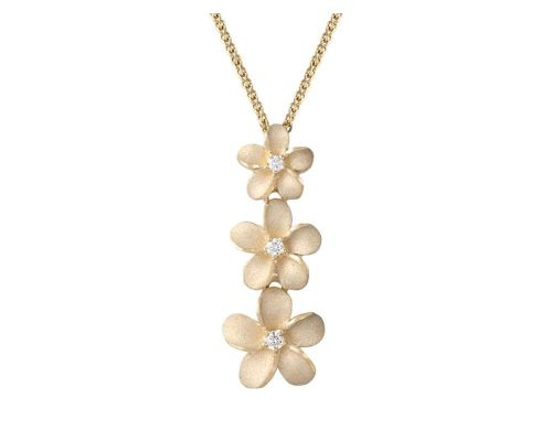 Denny Wong Forget-Me-Not Plumeria Flower Drop Pendant With Center Diamonds In 14 Karat Yellow Gold