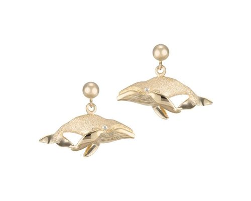 Denny Wong Humpback Whale Post Earrings With Diamonds In 14 Karat Yellow Gold