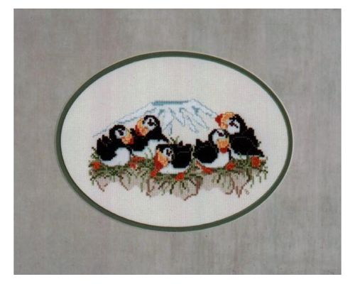 Puffin Family With A View Cross Stitch Design